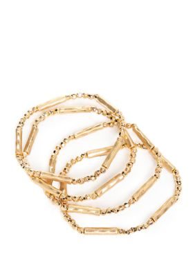 New Directions Women Set Of 4 Gold Plated Bead Bar Stretch Bracelets