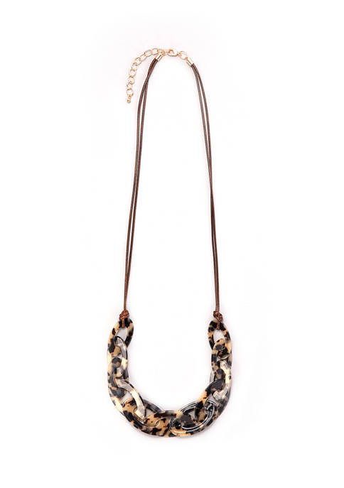 Tortoise Link Necklace on Cord