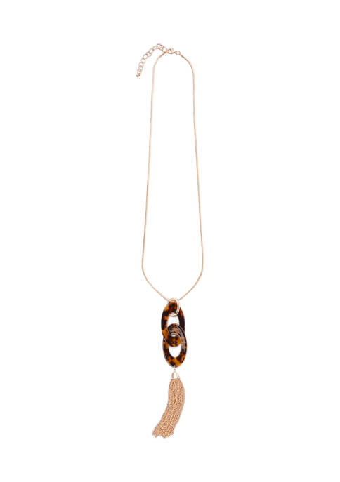 Double Oval Tortoise Link and Tassel Necklace