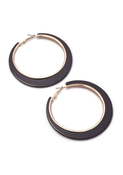 New Directions® Gold Tone Rimmed Large Hoop Earrings