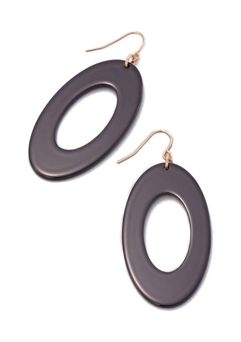New Directions® Black Large Oval Link Drop Earrings