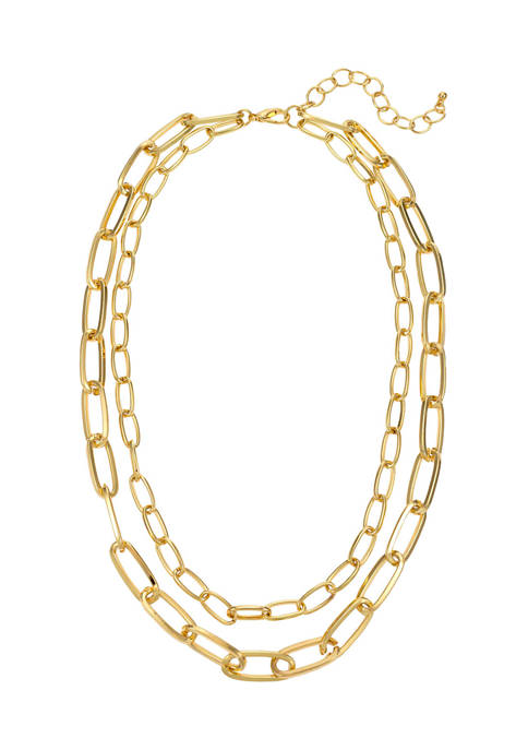 Two Row Short Chain Link Necklace in Gold Tone Metal