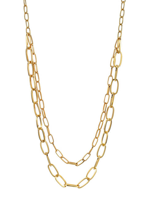 Gold Tone Nested Long 2 Row Chain Necklace