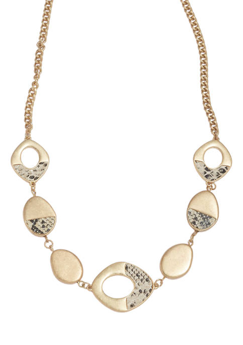 Gold Tone Snake Frontal Necklace