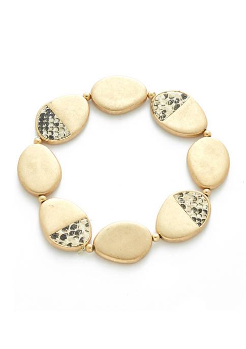 Gold Tone Snake Stretch Bracelet