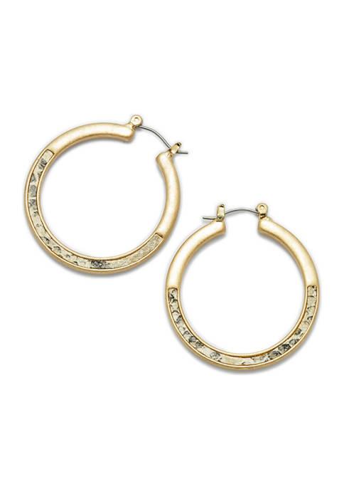 Gold-Tone Snake Medium Hoop Earrings