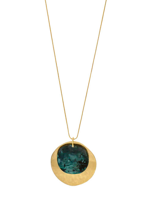 Patina Gold Tone Long Double Round Pendant Necklace