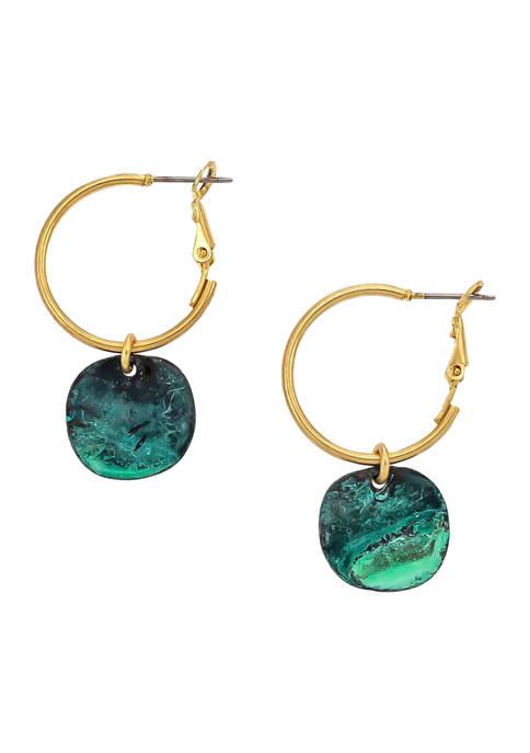 Belk Patina Disc Drop Gold-Tone Small Hoop Earrings