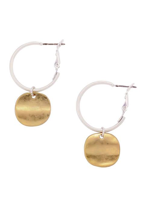 Belk Two-Tone Disc Drop Small Hoop Earrings