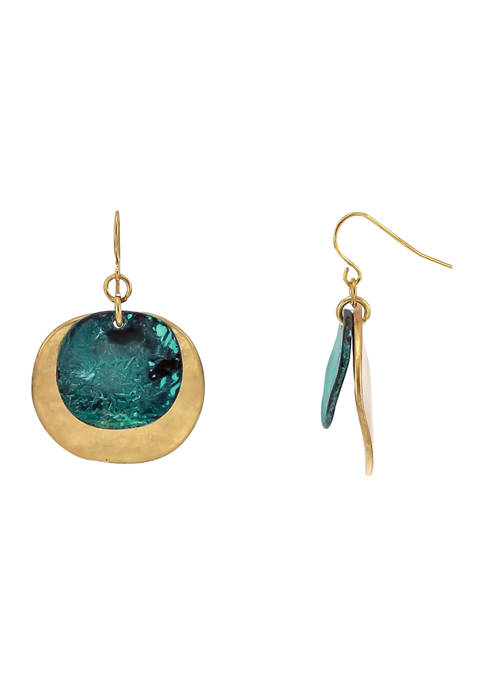 Belk Patina and Gold-Tone Overlay Disc Drop Earrings