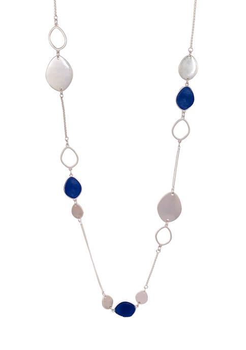 Long Blue Druzy Station Necklace
