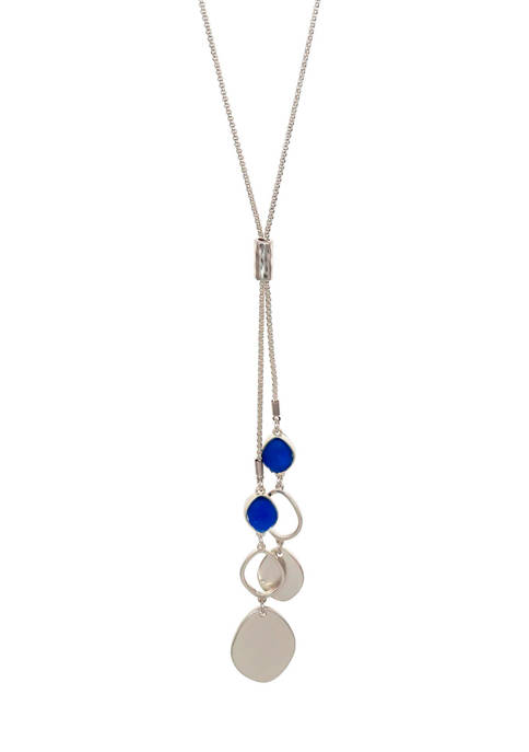 New Directions® Long Blue Druzy Organic Link Pendant