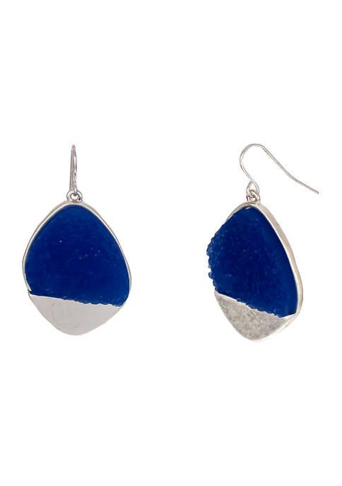 New Directions® Silver-Tone Blue Druzy Stone Drop Earrings
