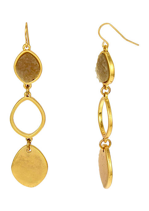 New Directions® Gold-Tone Natural Druzy Organic Link Triple