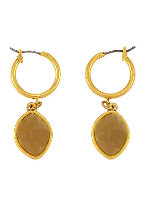 New Directions® Gold-Tone Natural Druzy Drop Small Hoop