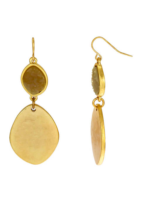 New Directions® Gold-Tone Natural Druzy Organic Disc Double