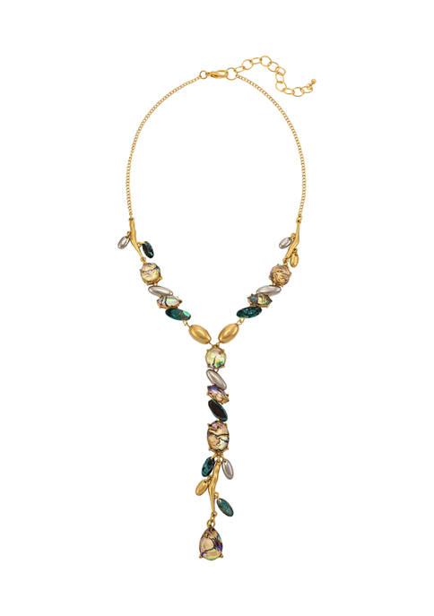 Short Abalone Stone Y Necklace