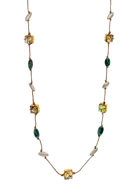 Long Knotted Cord Necklace with Patina and Abalone Stones