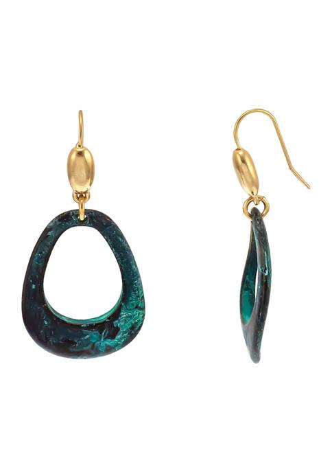 Belk Open Pear Shape Patina Metal Drop Earrings