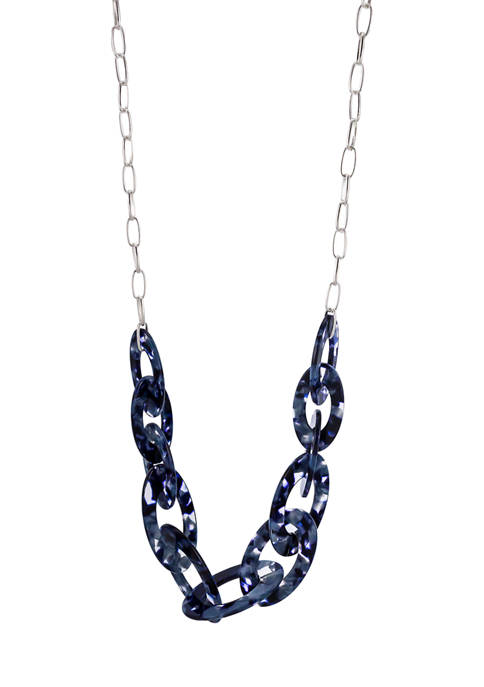 34 Inch + 3 Inch Extender Long Denim Blue Acetate Link Necklace with Chain Link Back