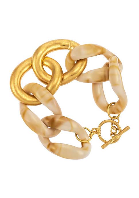 Gold Tone Bold Natural Resin Link Bracelet
