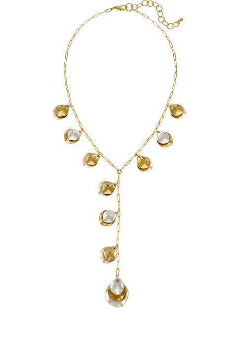 Two Tone 18 Inch + 3 Inch Extender Y  Neck Necklace with Metal Petal Drops
