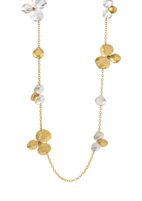 Two Tone 36 Inch + 3 Inch Extender Long  Linked Necklace with Metal Flower Stations