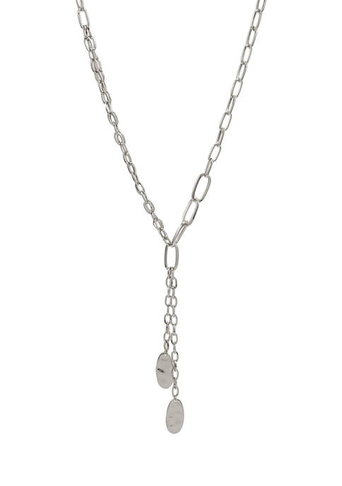 Chain Link Y-Necklace with Hammered Oval Disc Drops in Silver Tone Metal