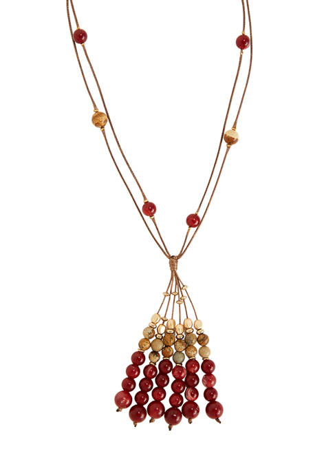 Neutral Berry Tassel Gold Tone Necklace