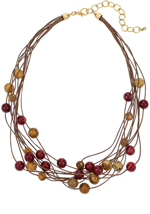 Gold Tone, 18 Inch + 3 Inch Extender Multi-Row Cord Necklace with Scattered Look of Semi Berry and Neutral Beads