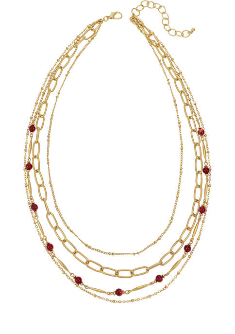 Multi Row Gold Tone Chain Necklace with Berry Accent Beads