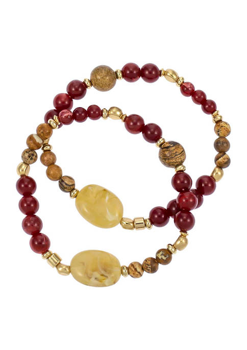 Gold Tone, 2 Row Berry and Neutral Look of Semi Beaded Stretch Bracelet