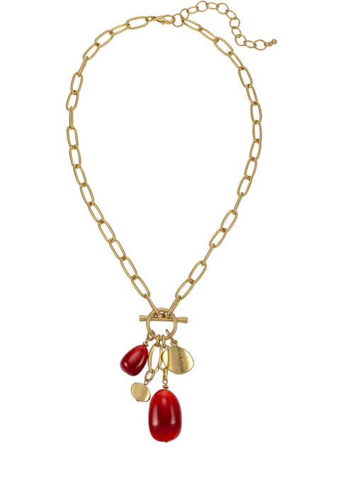 Gold Tone 18 Inch + 3 Inch Extender 1 Row Chain with Toggle and Berry and Gold Bead Drops