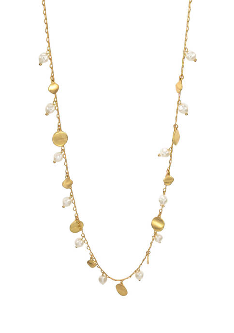 Gold Tone Long One Row Necklace with Pearl and Disc Drops