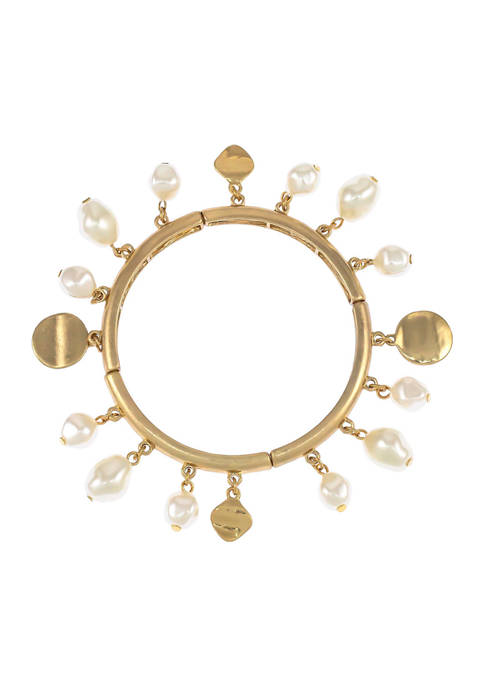 Stretch Bangle Bracelet with Pearl Drops in Gold Tone Metal