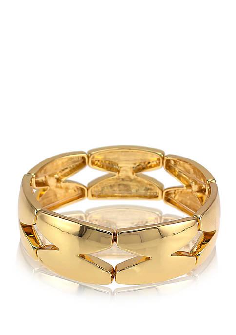 Stretch Open X Wide Bangle Bracelet