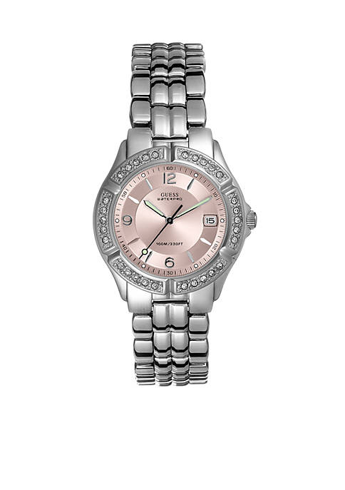 GUESS® Womens Crystal Mid-Size Sports Watch