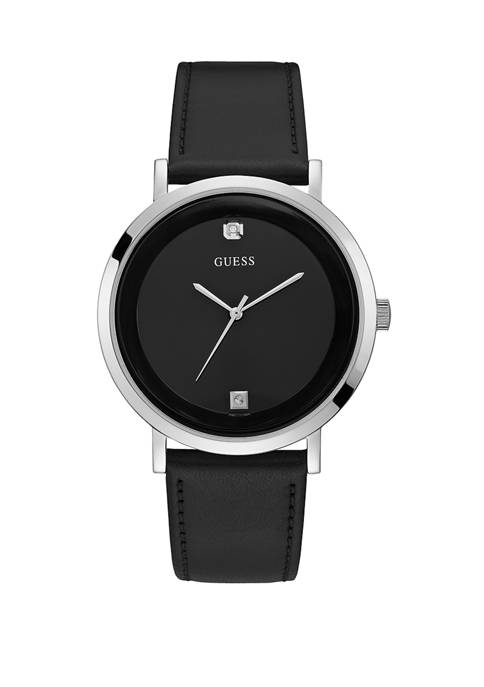 GUESS® Womens Black Leather Watch
