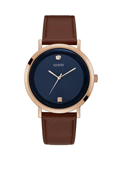 GUESS® Mens Rose Gold Navy Leather Watch