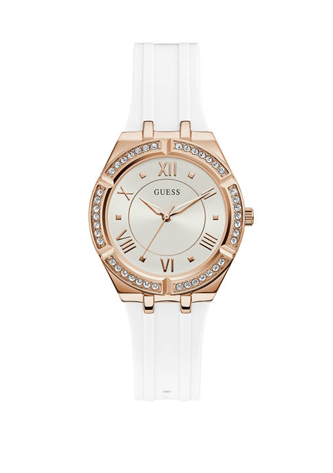 Womens Cosmo Rose Gold Tone Metal and White Rubber Analog Watch