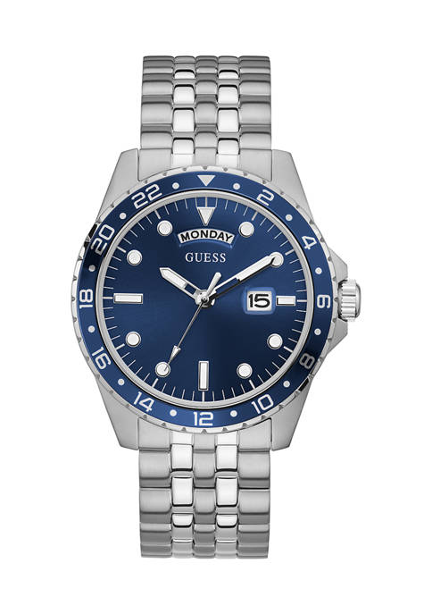 GUESS® Comet Blue Dial Watch in Stainless Steel