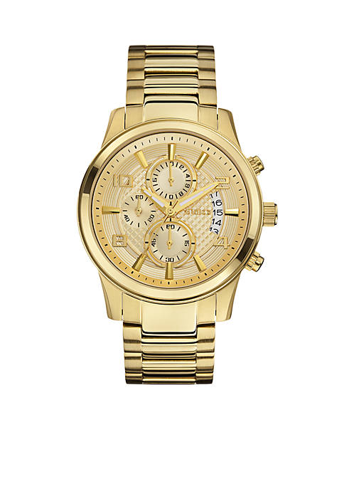 GUESS® Mens Gold-Tone Dress Chronograph Watch