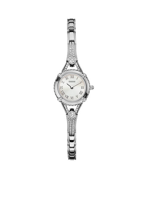 GUESS® Womens Feminine Silver-Tone Bracelet Watch