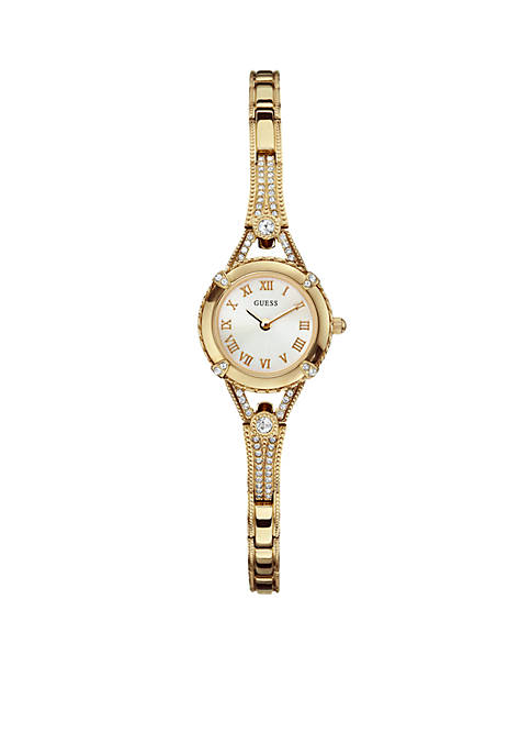 GUESS® Womens Feminine Gold Tone Crystal Bracelet Watch
