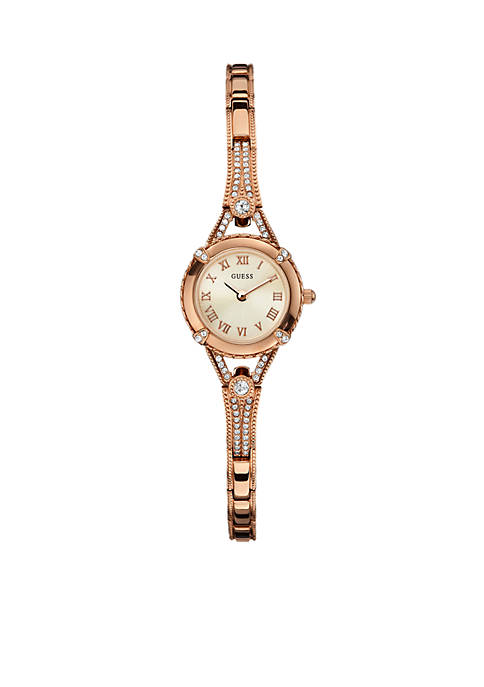 Womens Feminine Rose Gold Tone Bracelet Watch