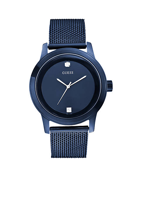 GUESS® Mens Blue Round Diamond Mesh Watch