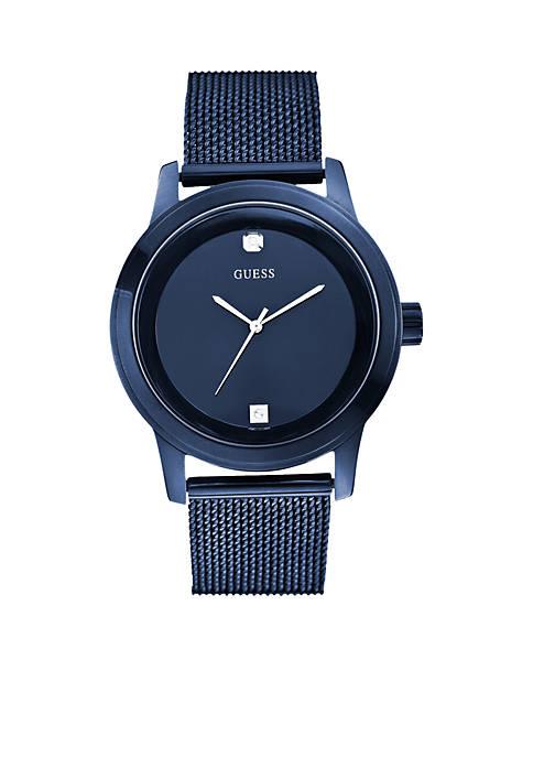 GUESS® Mens Blue Round Diamond Mesh Watch
