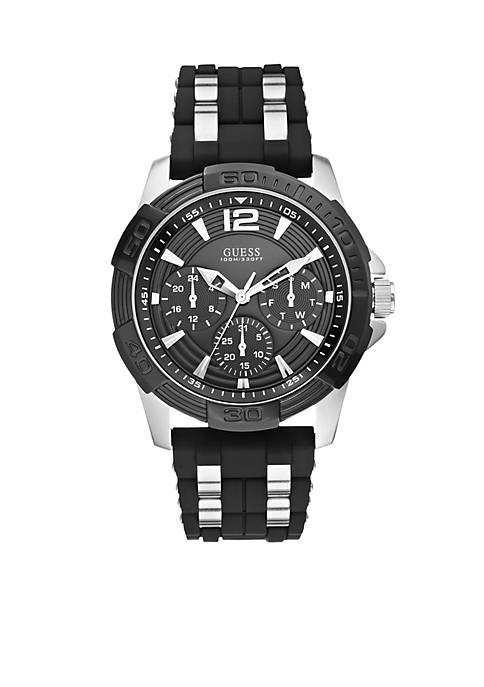 Masculine Sport Black Silicone Watch