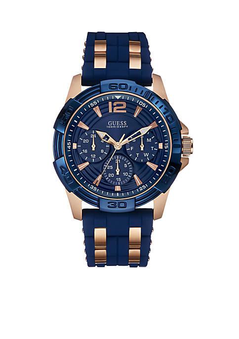 Rose Gold-Tone Blue Sport Watch