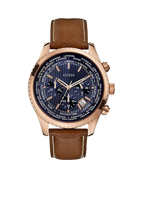GUESS® Mens Rose Gold-Tone Chronograph With Blue Dial